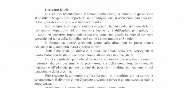 Messaggio di Mons. MOROSINI